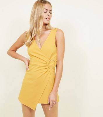 Yellow Ring Side Sleeveless Wrap Playsuit