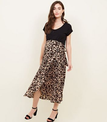 Maternity Brown Animal Print Spot Midi Skirt
