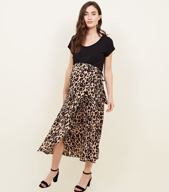 top-rated cheap variety of designs and colors top fashion Maternity Brown Leopard Print Midi Skirt Add to Saved Items Remove from  Saved Items