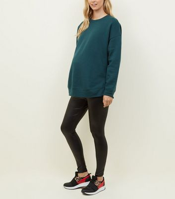 Maternity Black Wet-Look Leggings