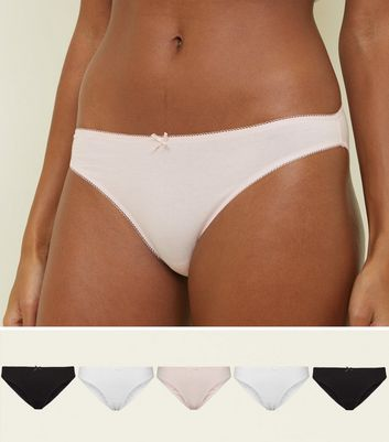5 Pack Pink, White and Black High Leg Bikini Briefs