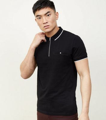 Black Tipped Collar 1/2 Zip Polo Shirt