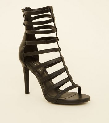 Black Gladiator Ankle Stiletto Heels