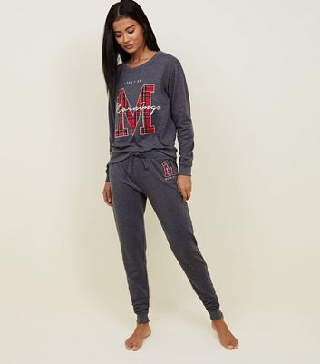 Dark Grey Morning Slogan Appliqué Pyjama Joggers