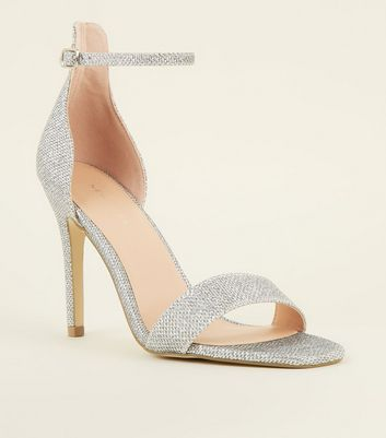 Silver Glitter Ankle Strap Stiletto Sandals