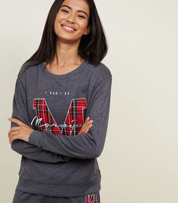 Dark Grey Mornings Appliqué Pyjama Sweatshirt