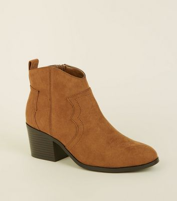 Girls Tan Suedette Stitch Detail Western Boots