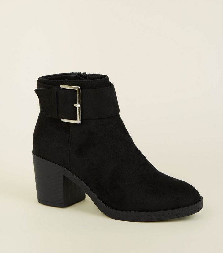 719d704f9c53 Girls Black Suedette Chunky Buckle Ankle Boots