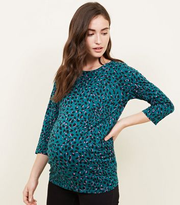 Maternity Green and Pink Animal Print Top