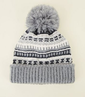 Grey Fairisle Knit Pom Pom Bobble Hat