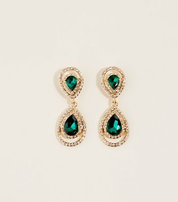 Dark Green Gem and Diamanté Teardrop Earrings