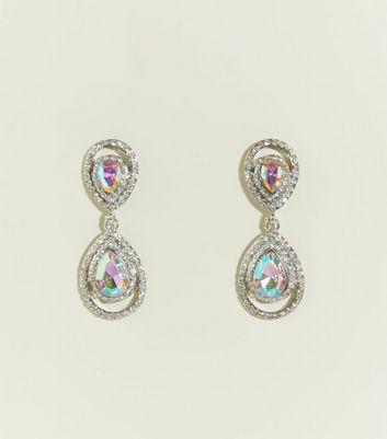 Silver Gem And Diamanté Teardrop Earrings by New Look