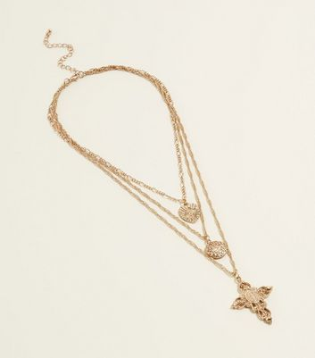 Gold Layered Twist Chain Cross Pendant Necklace