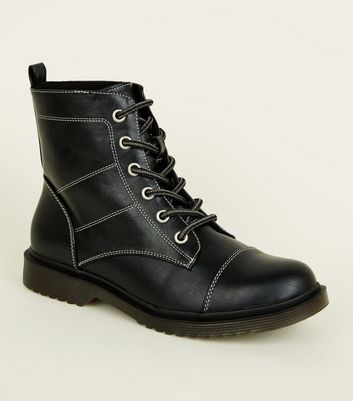 Girls Contrast Stitch Worker Boots