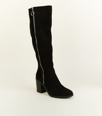 Black Extra Calf Fit Suedette Knee High Heeled Boots