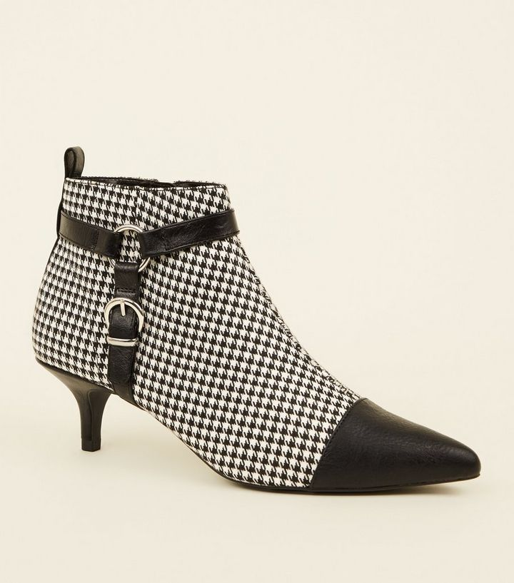 b36eb92181a9 Black Check Pointed Stirrup Ankle Boots