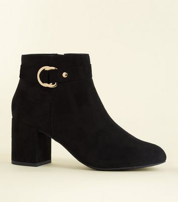 Black Comfort Flex Suedette Ring Side Ankle Boots