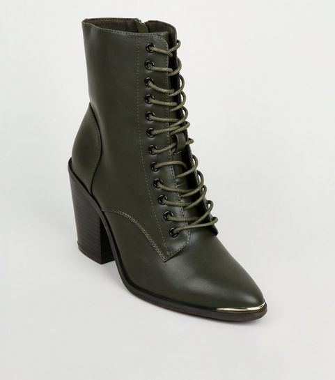 a416eccc1302d ... Khaki Lace-Up Heeled Ankle Boots ...