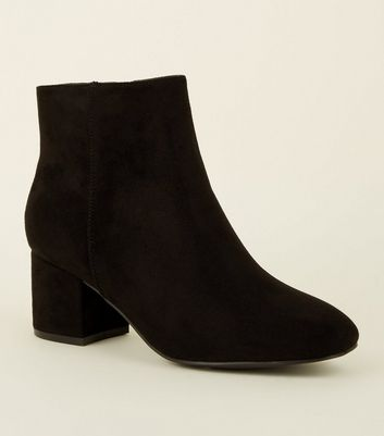 Girls Black Suedette Mid Heel Ankle Boots