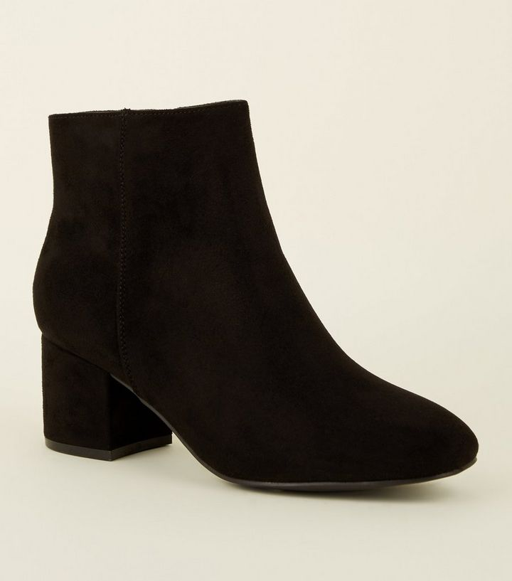 e8f846dba114 Girls Black Suedette Mid Heel Ankle Boots