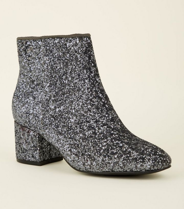 Girls Pewter Glitter Mid Block Heel Ankle Boots  45d1bf20df61