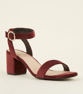 Dark Red Comfort Flex Velvet Block Heels