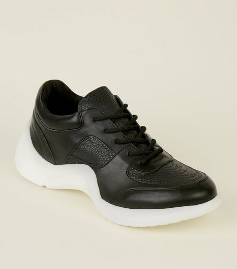 ... Black Panelled Curved Sole Chunky Trainers ... 0fbf4c3a2