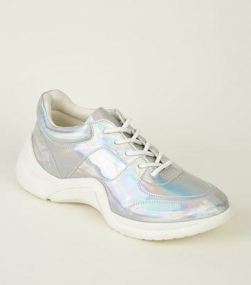 Silver Holographic Curved Sole Chunky Trainers