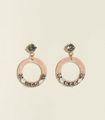 Pale Pink Resin Gem Embellished Hoop Earrings