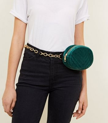 Dark Green Quilted Chain Bum Bag