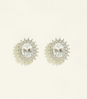 Silver Cubic Zirconia Oval Spike Earrings