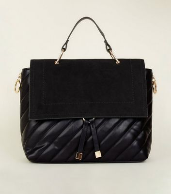 Black Quilted Satchel by New Look