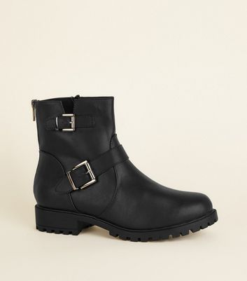 Wide Fit Black Buckle Flat Chunky Sole Boots