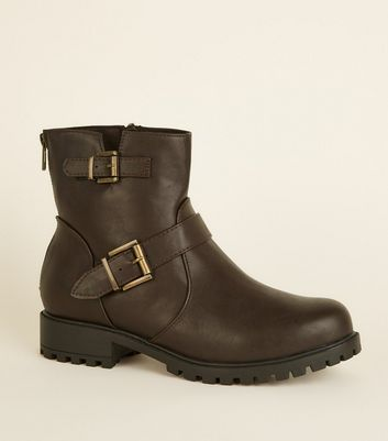 Wide Fit Rust Buckle Flat Chunky Sole Boots