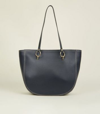 Black Contrast Stitch Ring Strap Tote Bag