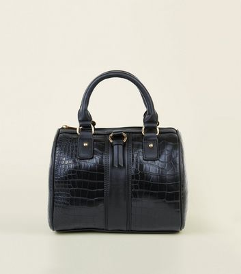 Black Faux Croc Bowler Barrel Bag