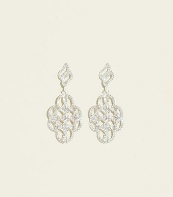Silver Premium Diamanté Art Deco Style Earrings