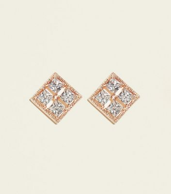 Rose Gold Cubic Zirconia Square Stud Earrings