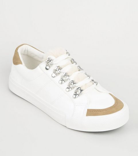 de52ea1d778 ... Girls White Faux Fur Panel Lace Up Trainers ...