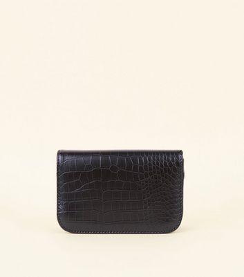 Black Faux Crocodile Skin Waist Belt Bag New Look