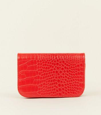 Red Faux Croc Belt Bag New Look