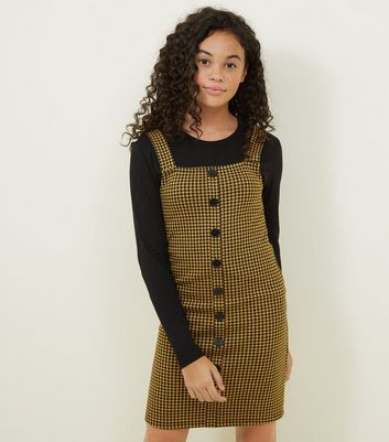 Girls Yellow Houndstooth Pinafore Dress