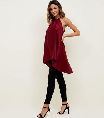 Cameo Rose Burgundy Satin Halterneck Top New Look