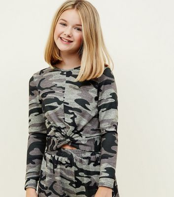 Girls Khaki Camo Twist Front Fine Knit Top