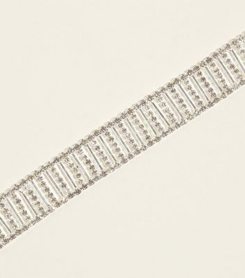 Silver Premium Diamanté Ladder Choker