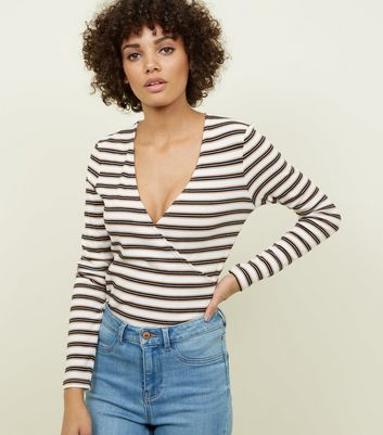 Camel Stripe Ribbed Wrap Long Sleeve T-Shirt