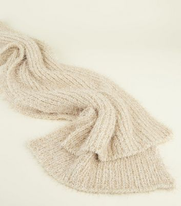 Cream Tinsel Ribbed Scarf