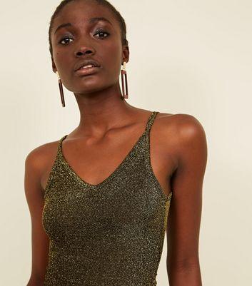 Cameo Rose Khaki Glitter Strappy Bodysuit New Look