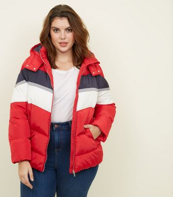 Curves Red Colour Block Puffer Jacket