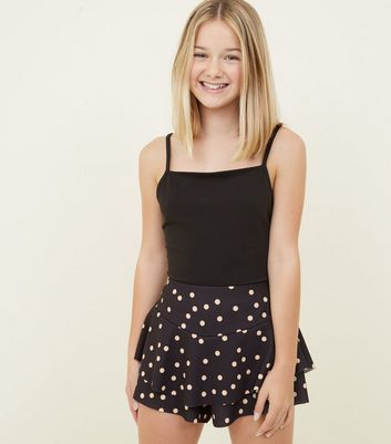 Girls Black Polka Dot Ruffle Skort